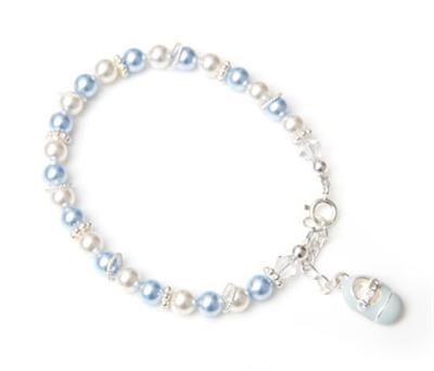 Blue Baby Shoe Charm Bracelet