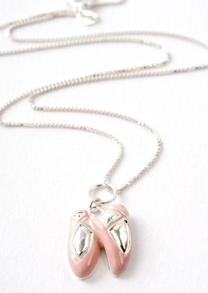 Pink Ballet Slipper Charm Necklace