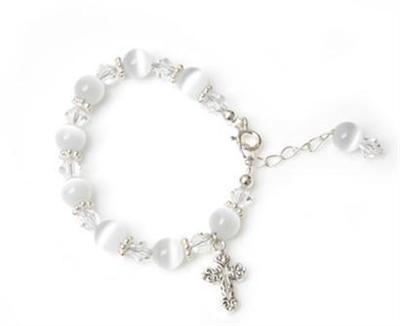Candy Cats Eye Cross Charm Bracelet