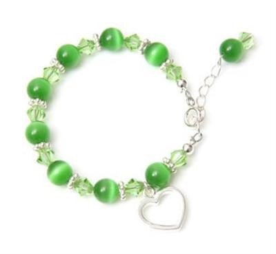 Candy Cats Eye Heart Charm Bracelet