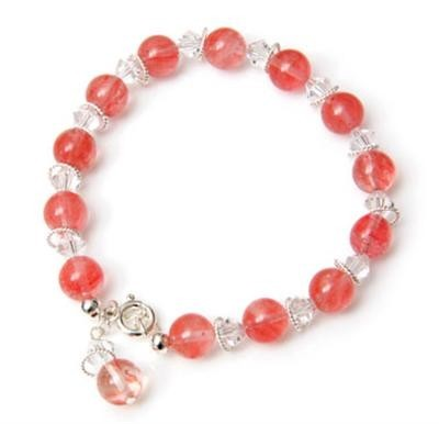 Cherry Quartz Crystal Drop Bracelet