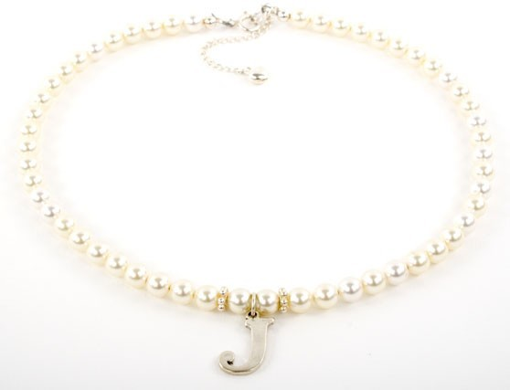 Crystal Pearl Alphabet Necklace