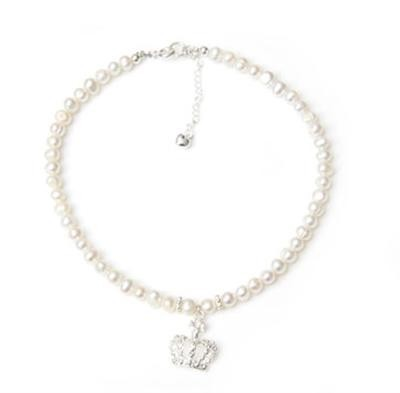 Freshwater Pearl Crown Charm Necklace