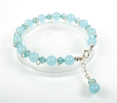 Larimar Silver and Crystal Drop Bracelet