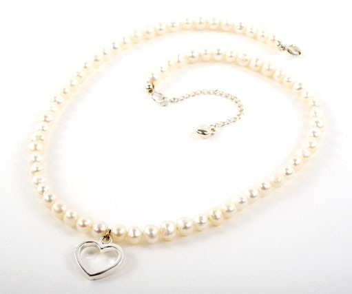 Freshwater Pearl Heart Charm Necklace