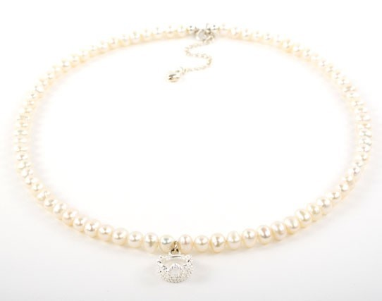 Freshwater Pearl Tiara Charm Necklace