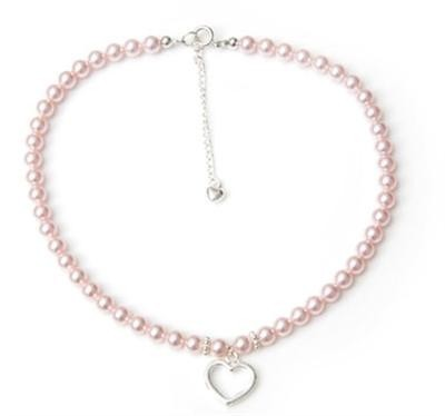 Crystal Pearl Heart Charm Necklace