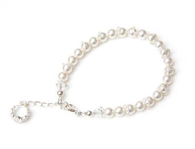 Crystal Pearl Tiara Charm Bracelet