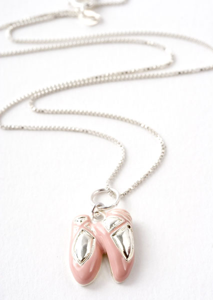 Pink Ballet Slipper Charm Necklace