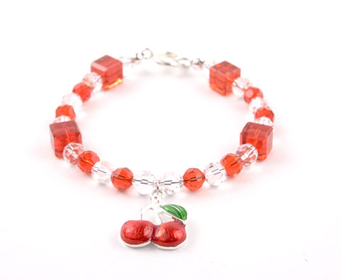 Crystal Cherry Charm Bracelet