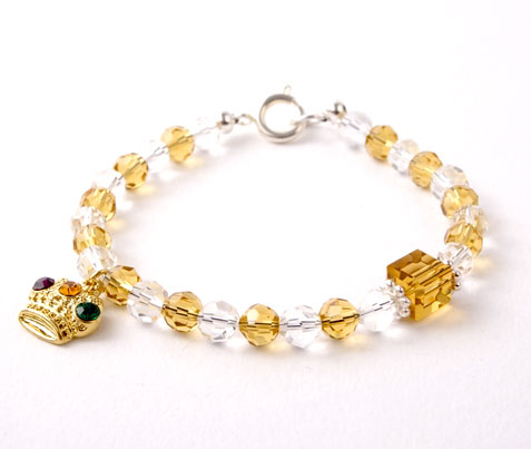 Crystal Crown Charm Bracelet