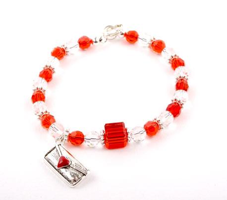 Crystal Heart Letter Charm Bracelet