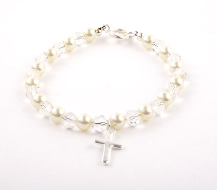 Glass Pearl and Crystal Cross Bracelet