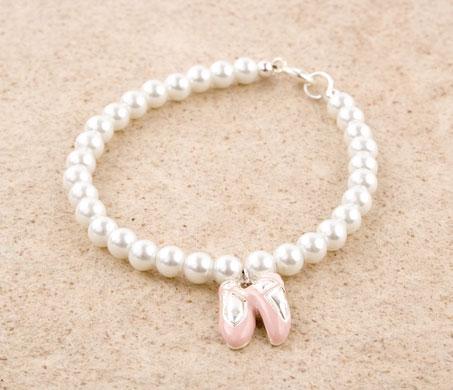 Glass Pearl Ballet Slipper Charm Bracelet