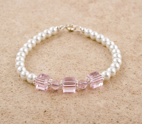 Glass Pearl Crystal Cube Bracelet