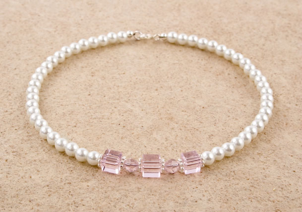 Glass Pearl Crystal Cube Necklace