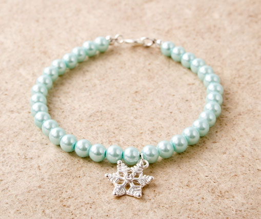 Glass Pearl Snow Flake Charm Bracelet