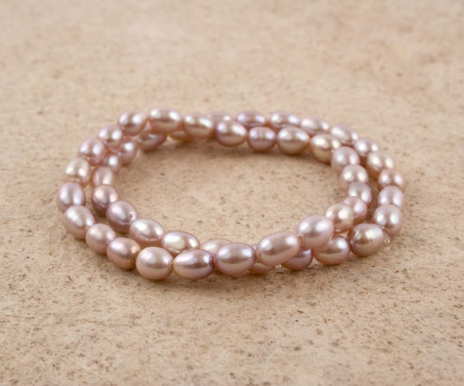 Lavender Rice Pearl Bracelet Set