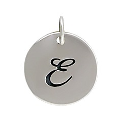 Sterling Silver Initial Alphabet E Letter Script Charms