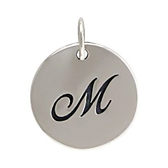 Sterling Silver Initial Alphabet M Letter Script Charms