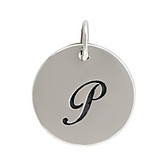 Sterling Silver Initial Alphabet P Letter Script Charms