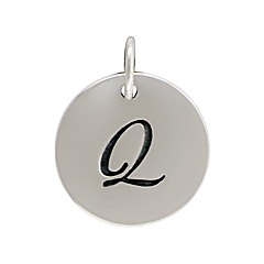 Sterling Silver Initial Alphabet Q Letter Script Charms