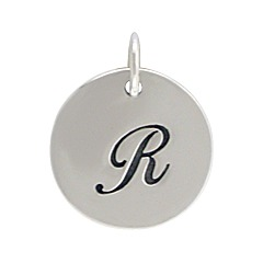 Sterling Silver Initial Alphabet R Letter Script Charms