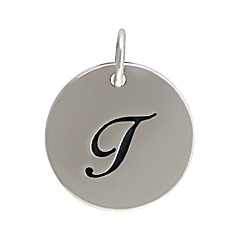 Sterling Silver Initial Alphabet T Letter Script Charms