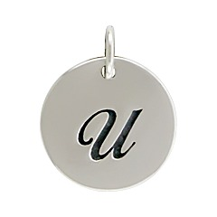 Sterling Silver Initial Alphabet U Letter Script Charms