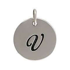 Sterling Silver Initial Alphabet V Letter Script Charm
