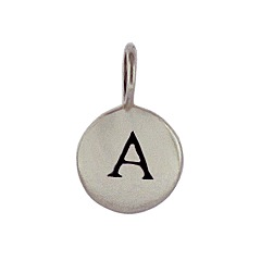 Sterling Silver Initial A Alphabet Letter Stamped Monogram Charm