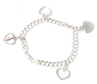 Ballerina Heart Charm Silver Bracelet