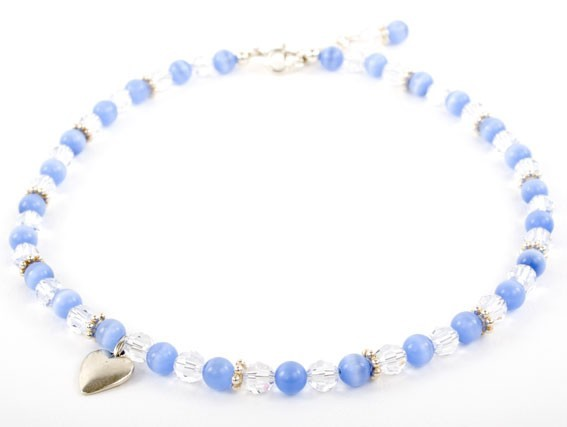 Candy Cats Eye and Crystal Charm Necklace