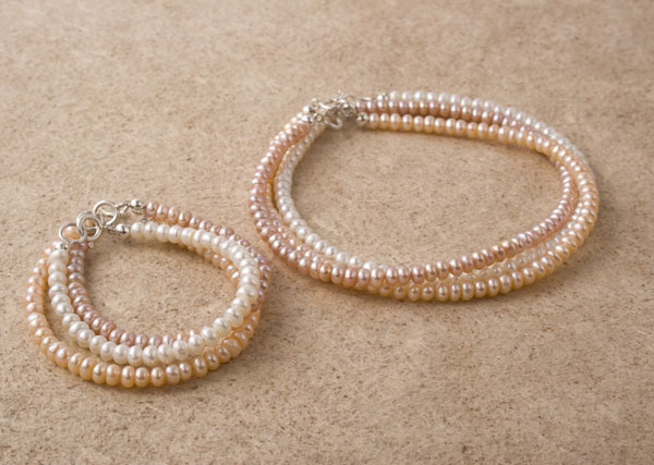 First Pearls Button Necklace and Bracelet Set