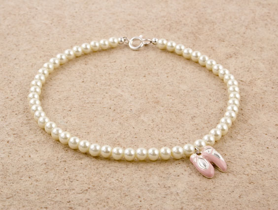Glass Pearl Ballet Slipper Charm Necklace
