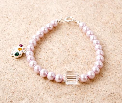 Glass Pearl Crown Charm Bracelet