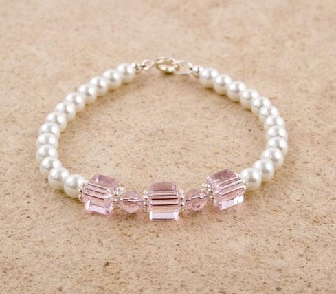 Glass Pearl Crystal Cube Bracelet