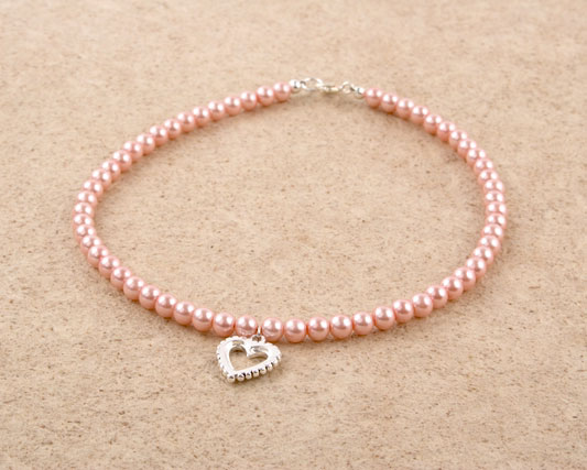 Glass Pearl Heart Charm Necklace