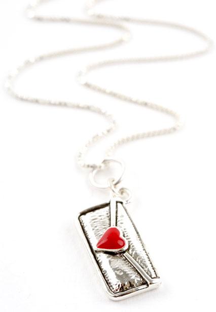 Envelope Heart Charm Necklace