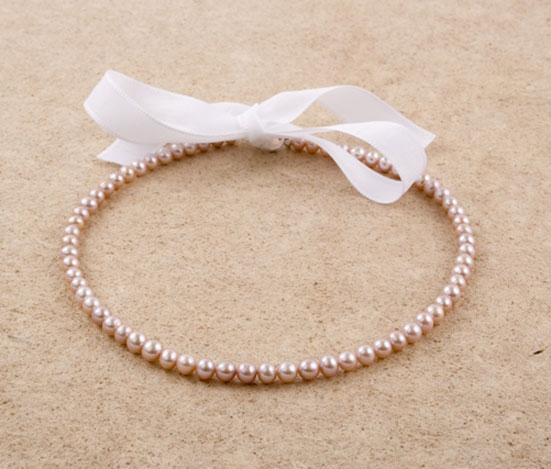Lavender Freshwater Pearl Ribbon Necklace