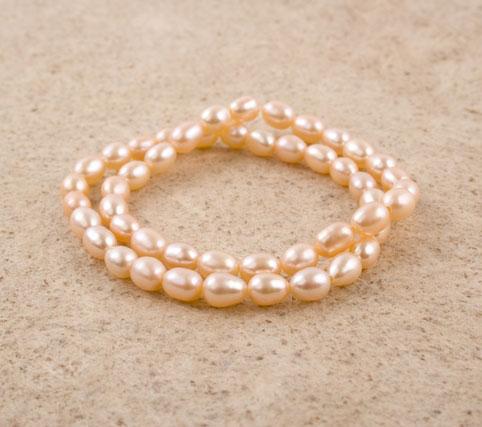 Pink Rice Pearl Bracelet Set
