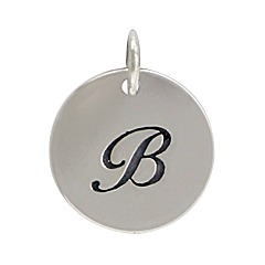 Sterling Silver Initial Alphabet B Letter Script Charms