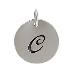 Sterling Silver Initial Alphabet C Letter Script Charms