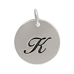 Sterling Silver Initial Alphabet K Letter Script Charms
