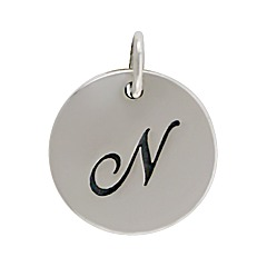 Sterling Silver Initial Alphabet N Letter Script Charms