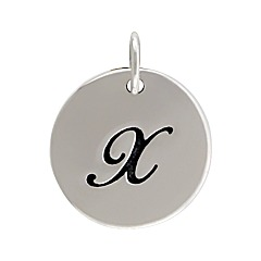 Sterling Silver Initial Alphabet X Letter Script Charms
