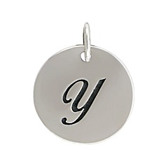 Sterling Silver Initial Alphabet Y Letter Script Charms