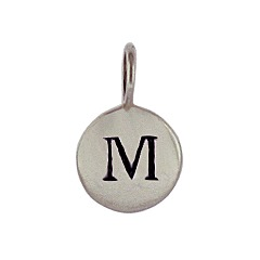 Sterling Silver Initial M Alphabet Letter Stamped Monogram Charm
