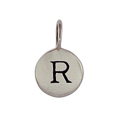 Sterling Silver Initial R Alphabet Letter Stamped Monogram Charm