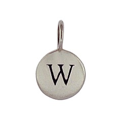 Sterling Silver Initial W Alphabet Letter Stamped Monogram Charm